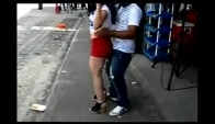 Perreo party dance in street