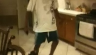 Retarded black guy dancing-the wobble
